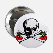 Rockabilly Cherries, Skull & Crossbones Button