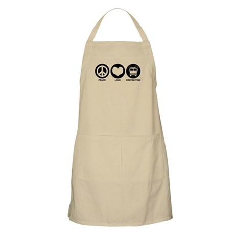 Peace Love Firefighting BBQ Apron