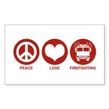 Peace Love Firefighting Rectangle Decal