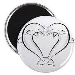 Dolphin Heart Black Magnet