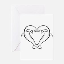 Dolphin Heart Black Greeting Card