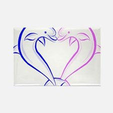 Dolphin Heart Blue and Pink Rectangle Magnet