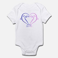 Dolphin Heart Blue and Pink Infant Bodysuit