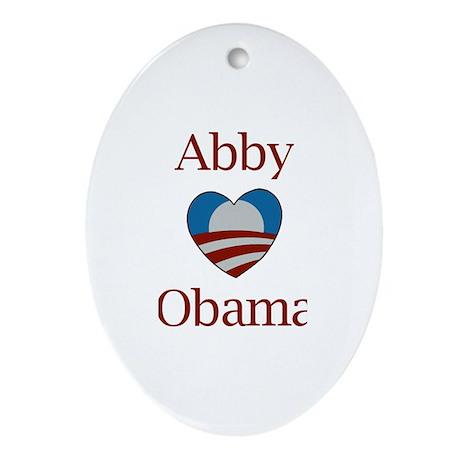 Abby Loves Obama Oval Ornament