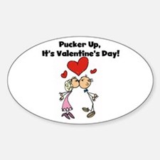 Pucker Up Valentine Oval Decal