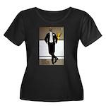 Bar Riche Women's Plus Size Scoop Neck Dark T-Shir