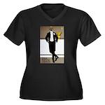 Bar Riche Women's Plus Size V-Neck Dark T-Shirt