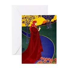 Red Robe Blue River Greeting Card