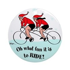 Christmas Round Ornament- Tandem Cyclists