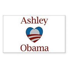 Ashley Loves Obama Rectangle Decal