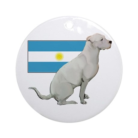 Dogo with Flag Ornament (Round)