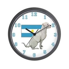 Dogo with Flag Wall Clock