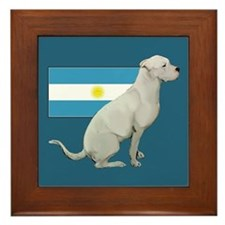 Dogo with Flag Framed Tile