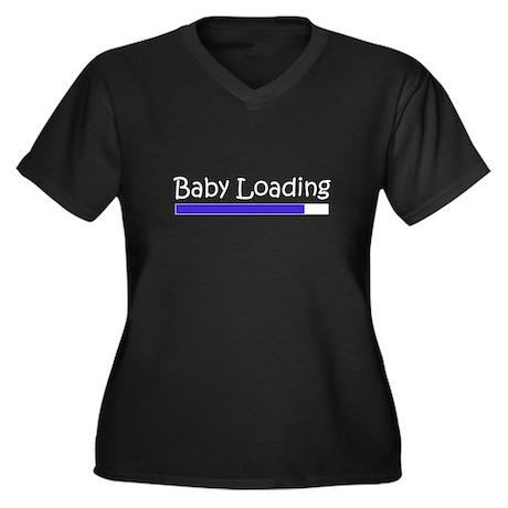 Baby Loading Women's Plus Size V-Neck Dark T-Shirt