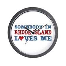 Somebody in Rhode Island Loves Me Wall Clock