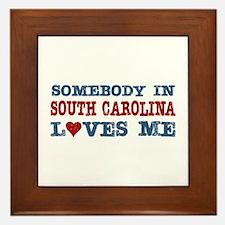 Somebody in South Carolina Loves Me Framed Tile