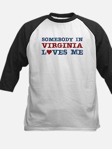 Somebody in Virginia Loves Me Kids Baseball Jersey