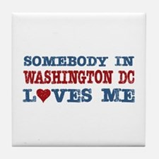 Somebody in Washington DC Loves Me Tile Coaster