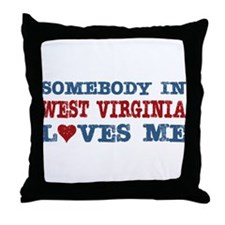Somebody in West Virginia Loves Me Throw Pillow