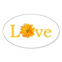 Love Flower Oval Sticker (10 pk)