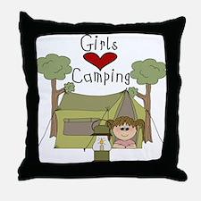 Girls Love Camping Throw Pillow