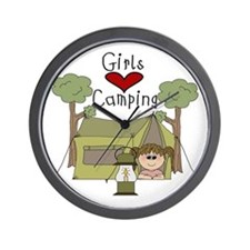 Girls Love Camping Wall Clock
