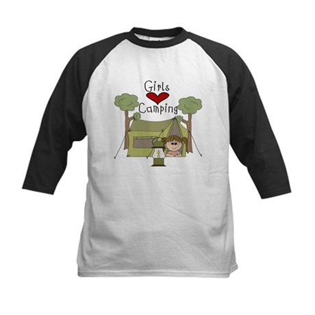 Girls Love Camping Kids Baseball Jersey