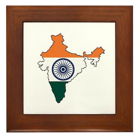 India Flag Map Framed Tile