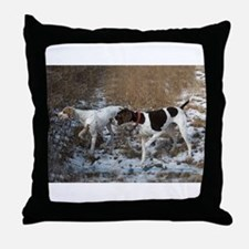 Pointer Pair at Work Throw Pillow