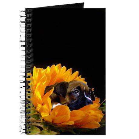 Boxer Puppy in Sunflower Journal