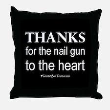 Nail Gun Heart 2 Throw Pillow