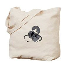 Old School Headphones Tote Bag