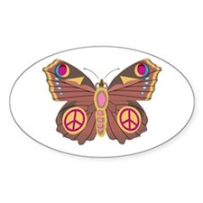 Peace Moth Oval Sticker (10 pk)