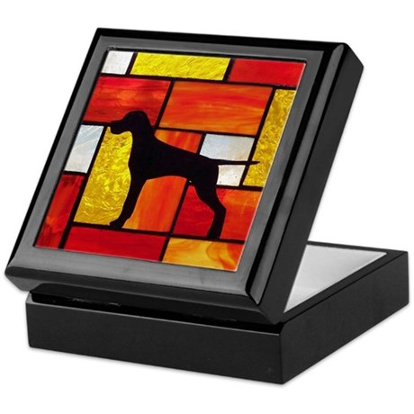 Pointer Stained Glass Keepsake Box