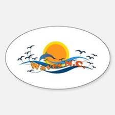 Waves NC Oval Decal