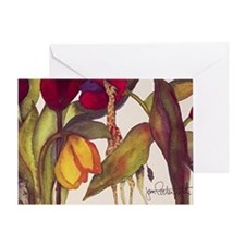 Giraffes and Tulips II Card