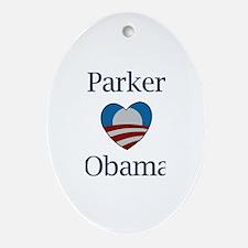 Parker Loves Obama Oval Ornament