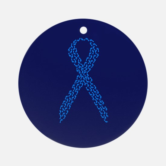 Blue Awareness Ribbon Ornament (Round)