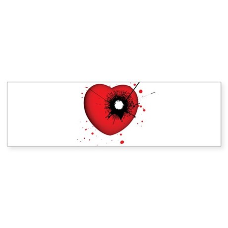 Bullet Hole Heart Bumper Sticker