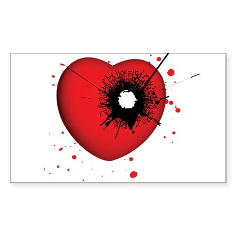 Bullet Hole Heart Rectangle Sticker