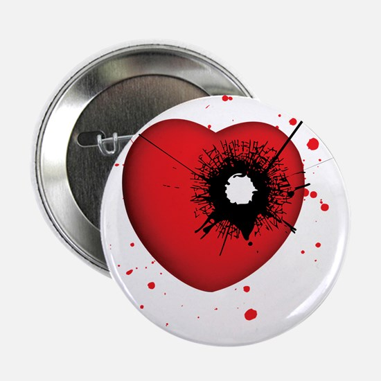 "Bullet Hole Heart 2.25"" Button"