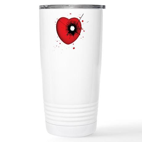 Bullet Hole Heart Stainless Steel Travel Mug