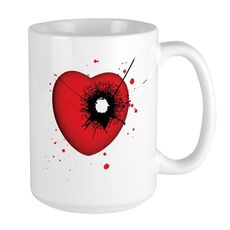 Bullet Hole Heart Large Mug