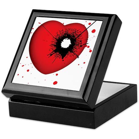 Bullet Hole Heart Keepsake Box