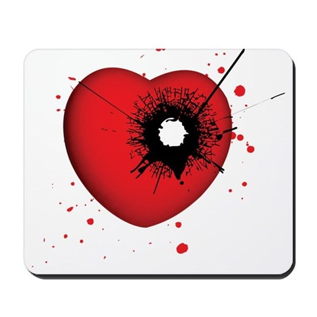 Bullet Hole Heart Mousepad