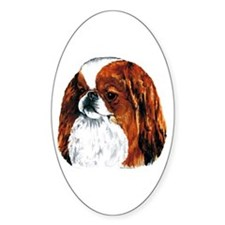 Japanese Chin Red Portrait Oval Decal