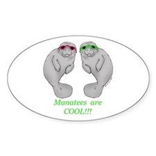 Cool Manatee Oval Decal