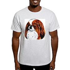 Japanese Chin Red Portrait Ash Grey T-Shirt