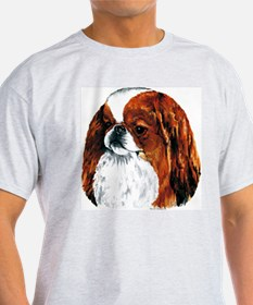 Japanese Chin Red Portrait Ash Grey T-Shirt