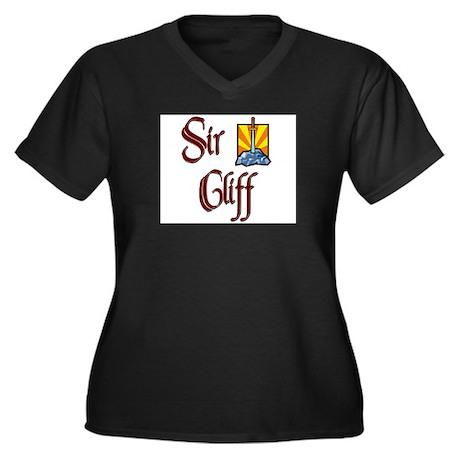 Sir Cliff Women's Plus Size V-Neck Dark T-Shirt